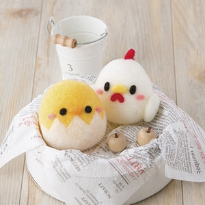 Kit de feutrage de laine poule et poussin avec son/Hen and chick wool felting kit with sound