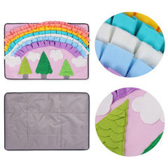 Details of rainbow forest dog sniffing and training mats from Pawzzle, front and back