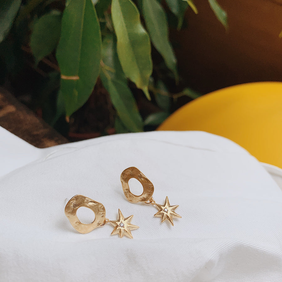 Saturn Star Drop Earrings