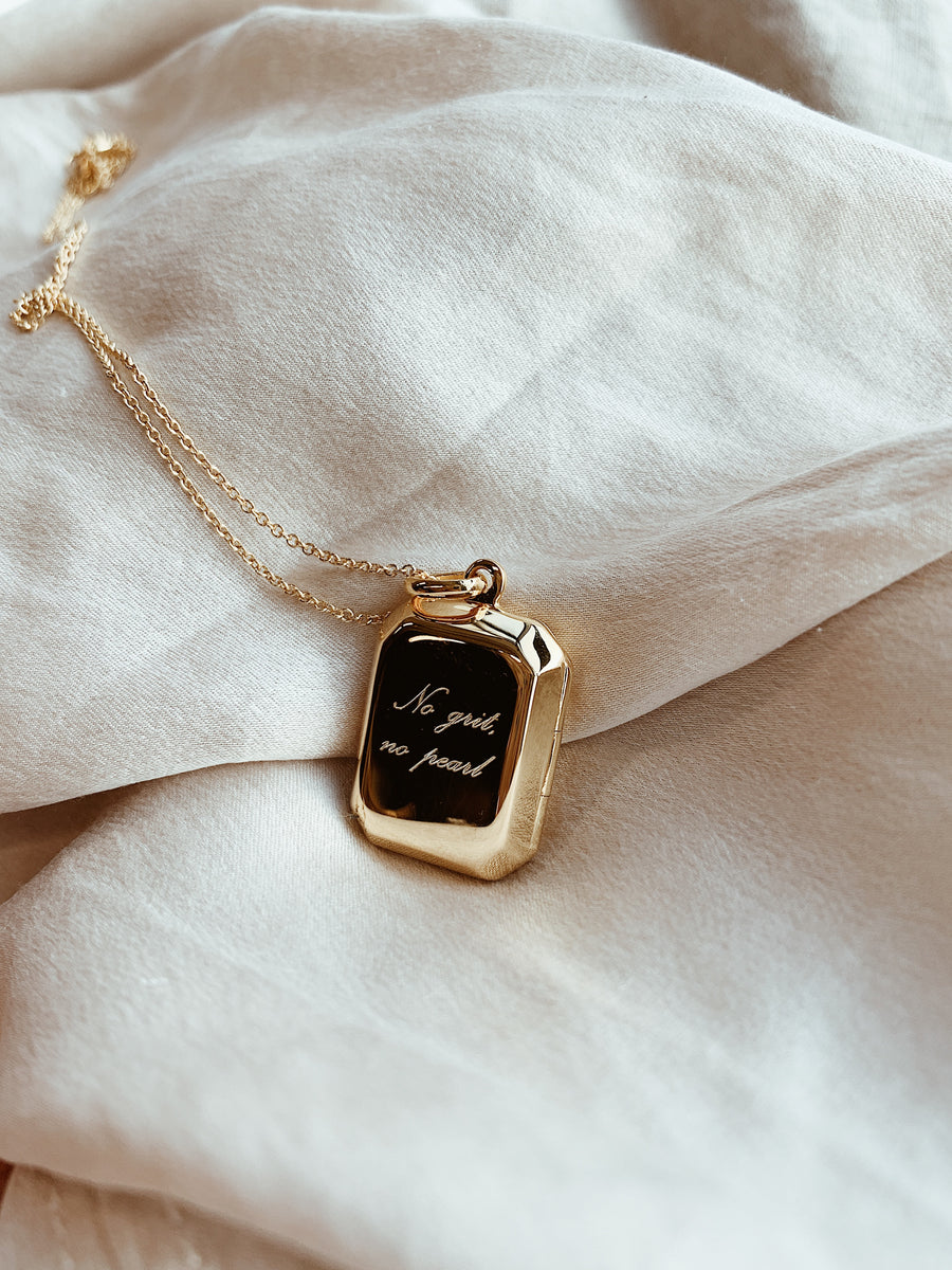 Locket ~ No Grit, No Pearl (rectangular)