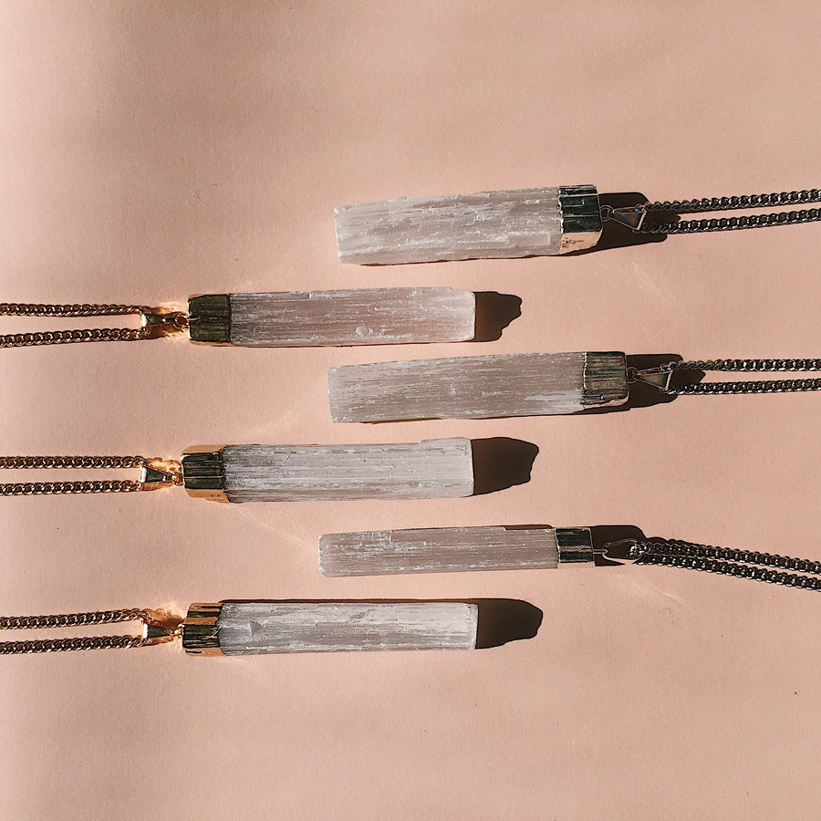 selenite crystal wand chain