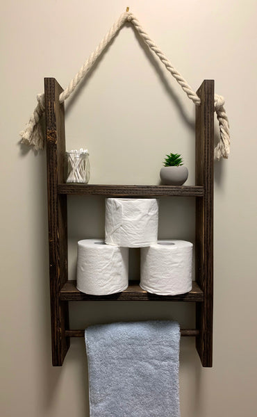 Large Bathroom Shelf With Towel Rack