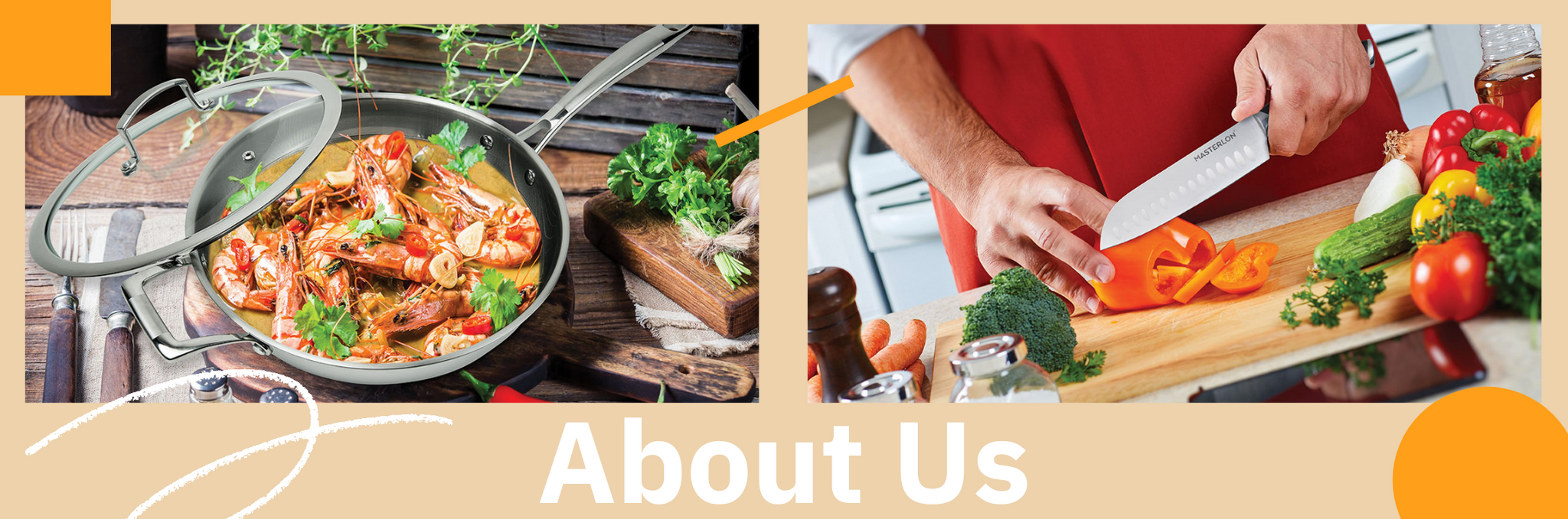 MasterPan about us banner with skillet and chopping knife