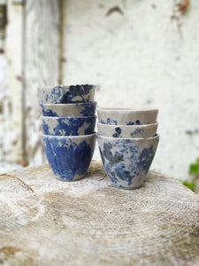 blue spotted cups stacked Makiko Hicher-Nakamura