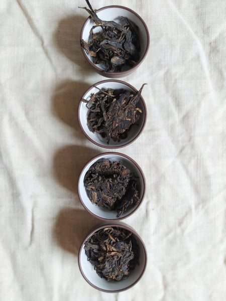 set of 4 - sheng pu-erh dry leaves