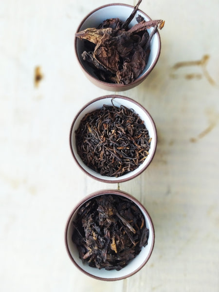 Set of 3 - shou pu-erh teas leaves