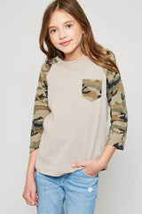 Camo Bootcamp Read 3/4 Sleeves - Monkey Bars Boutique