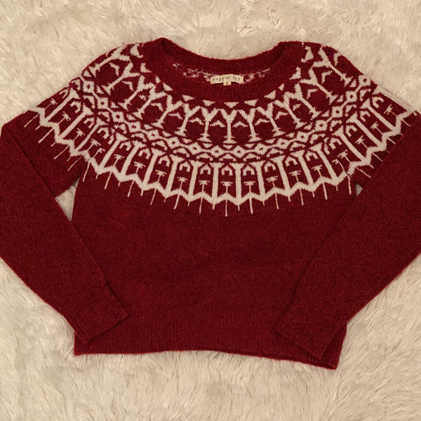Cooper Key Design Sweater (Red) - Monkey Bars Boutique