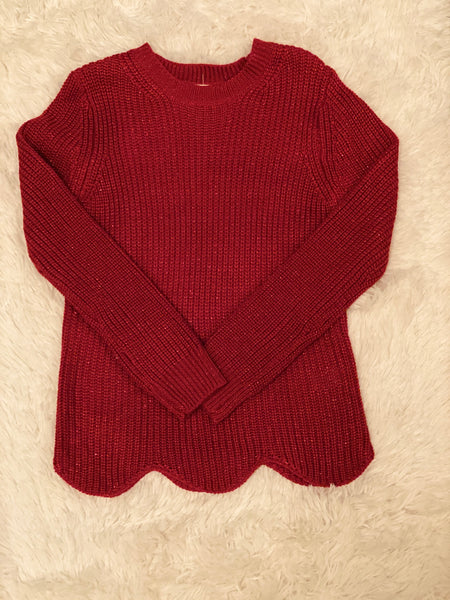 """Sparkle Baby"" Scallop Sweater (Red) - Monkey Bars Boutique"