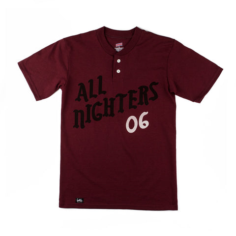 All Nighters Baseball Shirt (Maroon)