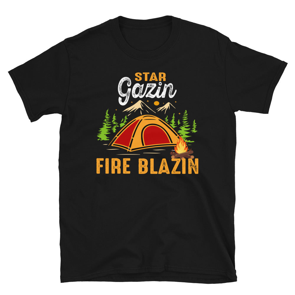 Star Gazing Fire Blazing Campfire Outdoors Short-Sleeve Unisex T-Shirt