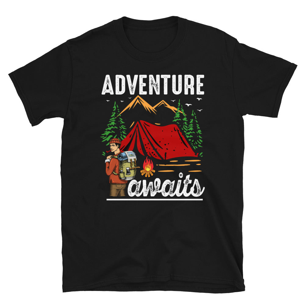 Adventure Awaits Camping Short-Sleeve Unisex T-Shirt