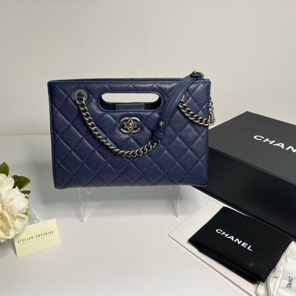 Chanel Shopper in Navy Blue Caviar Leather with Ruthenium Hardware