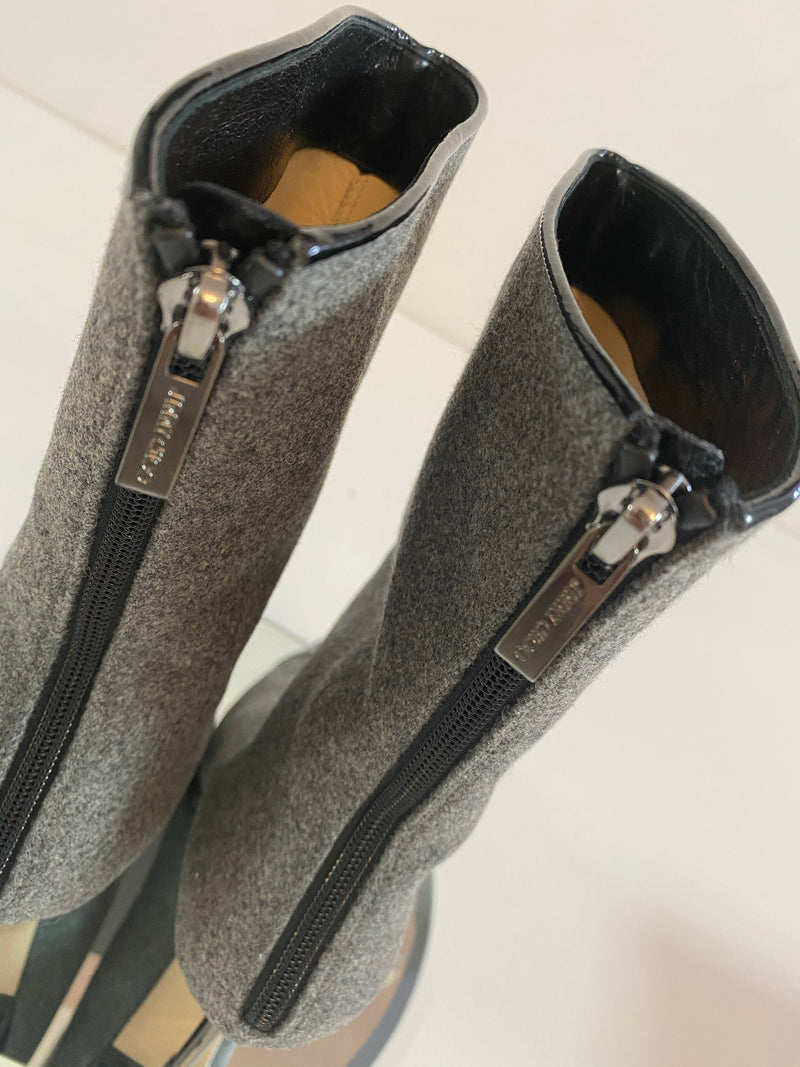 Jimmy Choo Lino Boot in Grey / Black (Size 37.5)