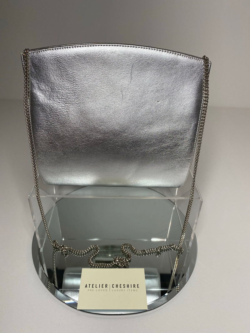 Gina Silver Evening Bag With Silver Hardware