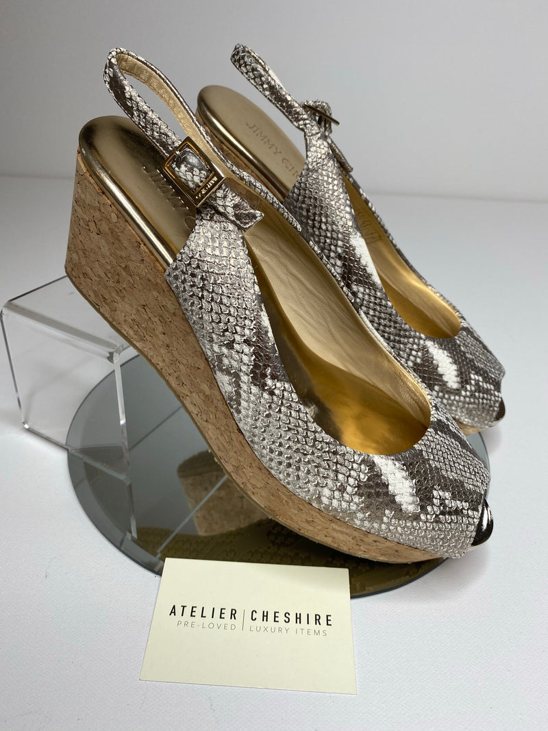 Jimmy Choo Wedges in Snakeskin (Size 40.5/UK7.5 - fit small to size)