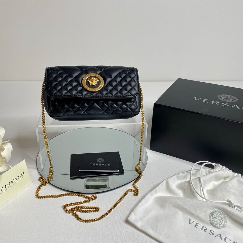 Versace Quilted Medusa Evening Bag in Black with Gold Chain
