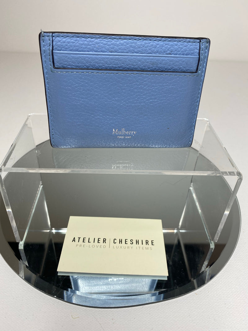 Mulberry Card Holder In Powder Blue Leather