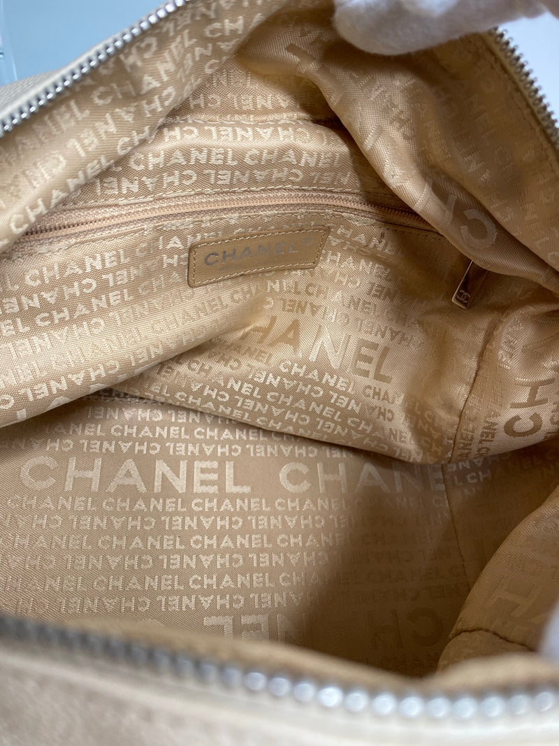 Chanel Perforated Caviar Leather Bowling Bag in Beige