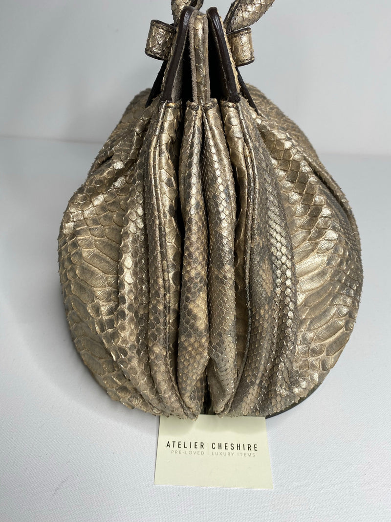 Zagliani Ice Python Perla Puffy Hobo Bag in Metallic Gold