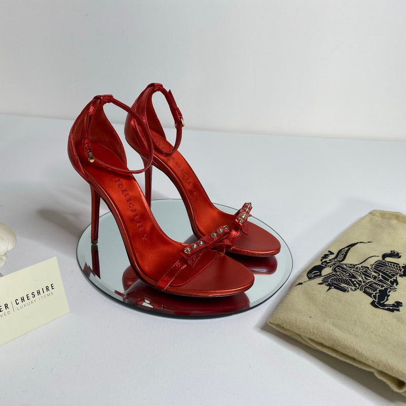Burberry Barely There Studded Heels in Red (Size 39)