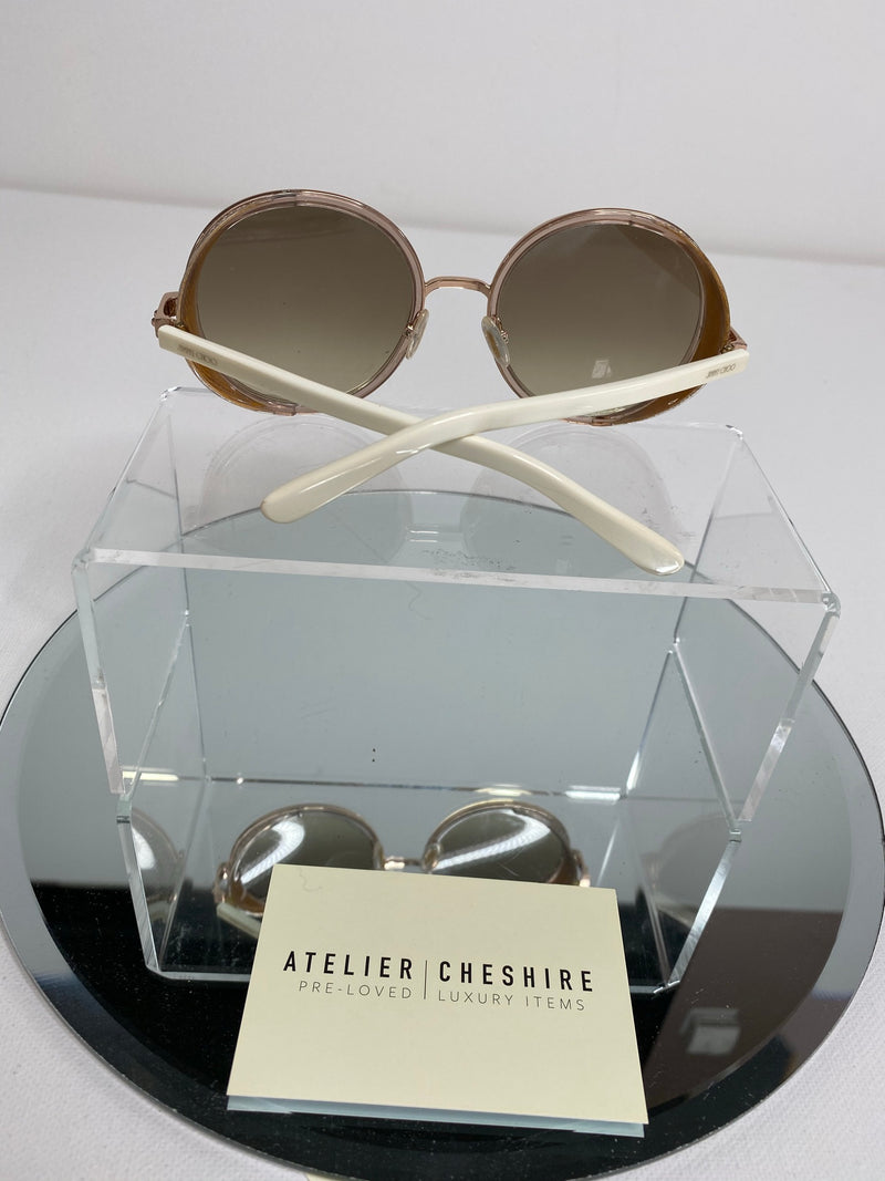 Jimmy Choo Andie Round Sunglasses in Gold/Beige Glitter