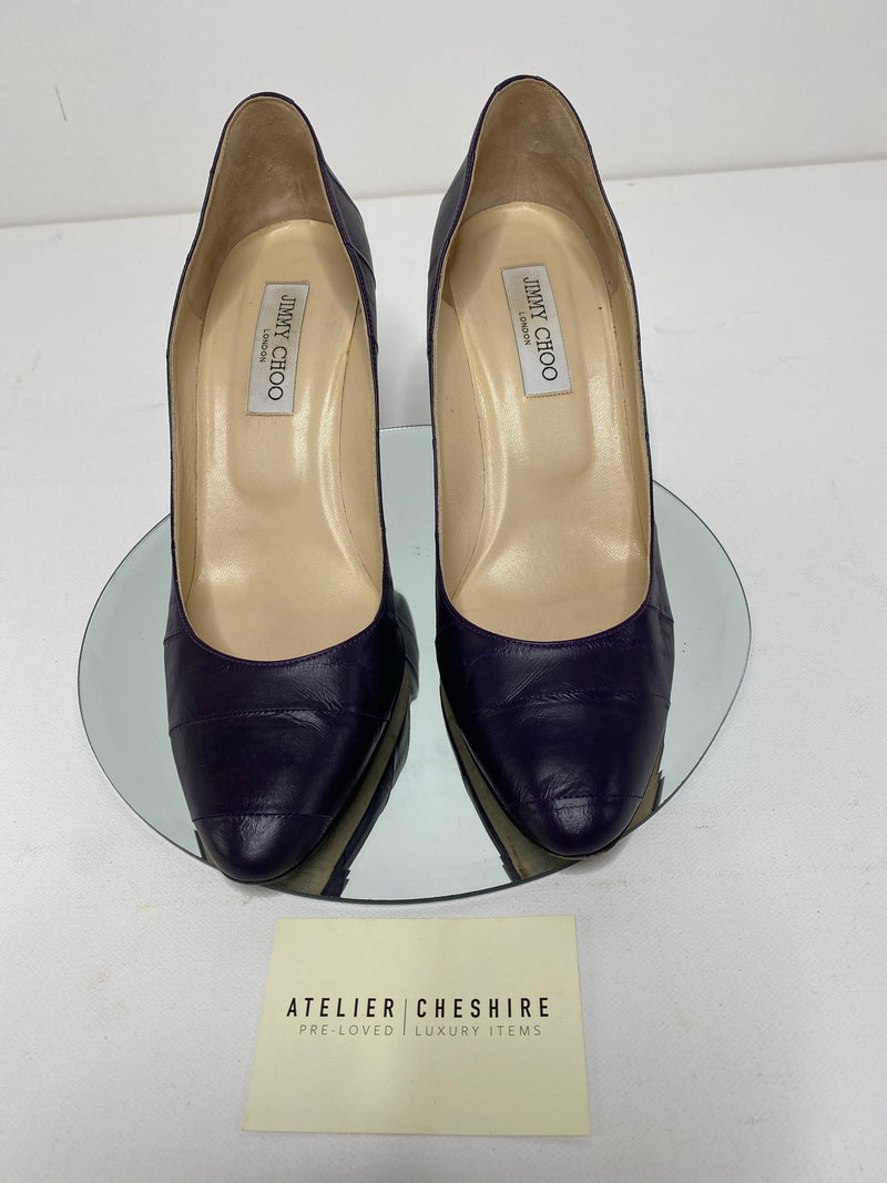 Jimmy Choo Eel Skin Pumps in Deep Purple (Size 40.5)