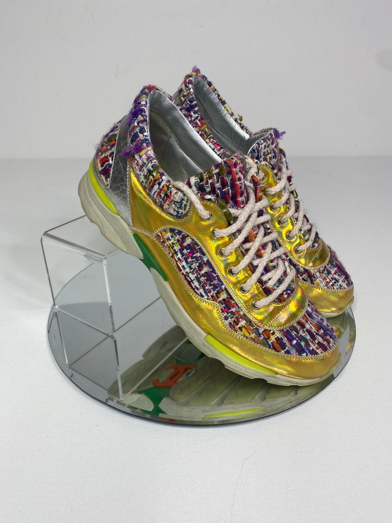 Chanel Supermarket Sneakers in Multicolour Tweed (Size 38.5)