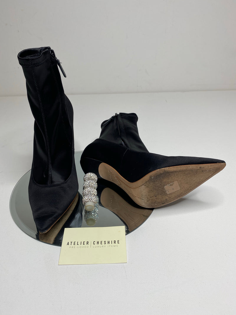 Sophia Webster Jumbo Coco Satin Ankle Boots in Black (Size 37.5)