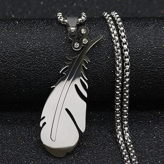 Feather Stainless Steel Necklace