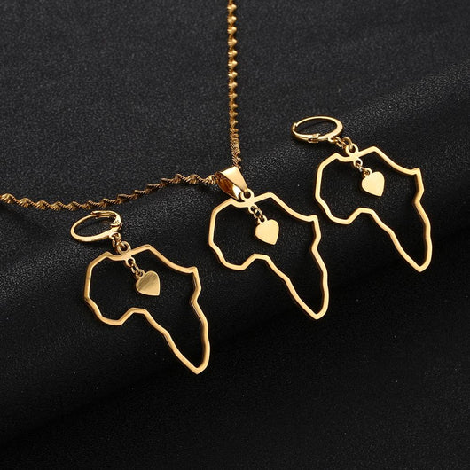 Africa Map Heart Jewelry Set