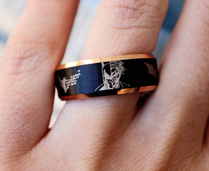 Open image in slideshow, everaftercreative Ring Batman and Joker Wedding Band, Batman Engagement Ring, Superhero Wedding Ring