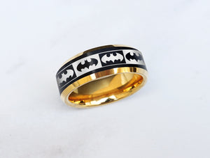 Open image in slideshow, everaftercreative Ring Batman Logo Ring, Batman Emblem Wedding Band, Superhero Ring