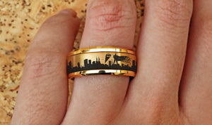 Open image in slideshow, everaftercreative Ring Batman Spinner Ring, Superhero Wedding Band, Gotham City Engagement Ring