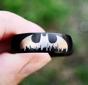 everaftercreative Ring Batman Symbol Wedding Ring, Gotham City Ring, Superhero Wedding Band