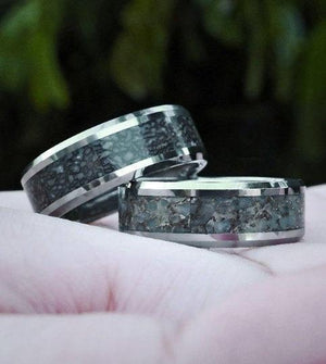 everaftercreative Ring Blue Dinosaur Bone Men's Wedding Band, Dinosaur bone ring, Triceratops Tungsten Engagement Ring.