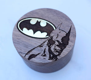 Open image in slideshow, everaftercreative Ring Box Batman Hero Gold Logo Wedding Ring Box, Superhero Ring Holder, Comic Jewelry Box, Superhero Ring Box, Logo Wood Box.