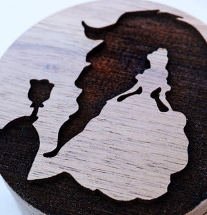 Open image in slideshow, everaftercreative Ring Box Beauty and the Beast Wood Wedding Ring Box, Princess Engagement Box, Disney Princess Ring Bearer.