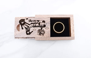 everaftercreative Ring Box Carl and Ellie Wood Ring Box, Disney Up Movie Balloon House Wedding Ring Box, UP Movie Ring Box.