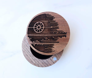 Open image in slideshow, everaftercreative Ring Box Deathstar Wedding Ring Box, Star Wars Engagement Ring Wood Box, Rebel Alliance Millenium Falcon.