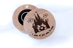 Open image in slideshow, everaftercreative Ring Box Disney Wedding Ring Box, Mickey and Minnie Mouse Engagement Wood Ring Box, Disney Castle Jewelry Box.
