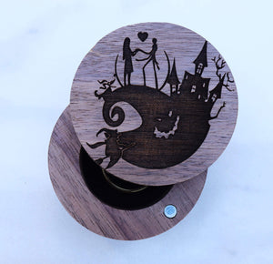 Open image in slideshow, everaftercreative Ring Box Jack and Sally Ring Box, Nightmare Before Christmas Zero Engagement Box, Skellington Wood Box.