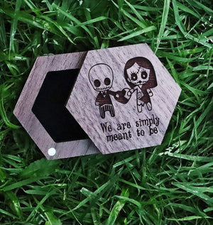 Open image in slideshow, everaftercreative Ring Box Jack Skellington and Sally Wedding Wood Ring Box, Jack Sally Anniversary Jewelry Box