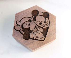 Open image in slideshow, everaftercreative Ring Box Mickey and Minnie Mouse Engagement Wedding Wood Ring Box, Mickey Mouse Ring Box.
