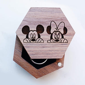 everaftercreative Ring Box Mickey Mouse Minnie Mouse Wedding Ring Box, Disney Wedding Box, Disney Engagement Jewely Box.