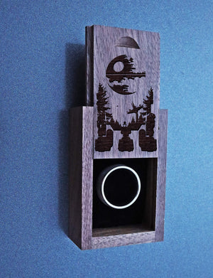 Open image in slideshow, everaftercreative Ring Box Star Wars Wedding Ring Box, Deathstar Engagement Wood Box, Han Solo Darth Vader Ring Box.