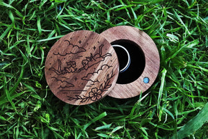 Open image in slideshow, everaftercreative Ring Box Studio Ghibli Wood Ring Bearer, Anime Ring Box, Chihiro Haku Spirited Away Engagement Ring Box