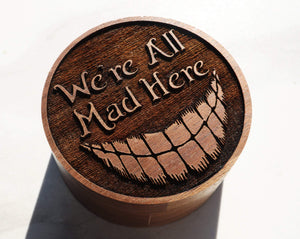 everaftercreative Ring Box Were All Mad Here Wood Ring Box, Cheshire Cat Ring Box, We're All Mad Here Box.