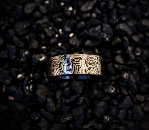 everaftercreative Ring Circuit Board Ring for Men, Computer Science Wedding Ring, Geek Jewelry, PC Board Engagement Ring.