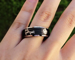 Open image in slideshow, everaftercreative Ring Death star Tie Fighters Men Star Wars Wedding Band, Star Wars Jewelry Gift